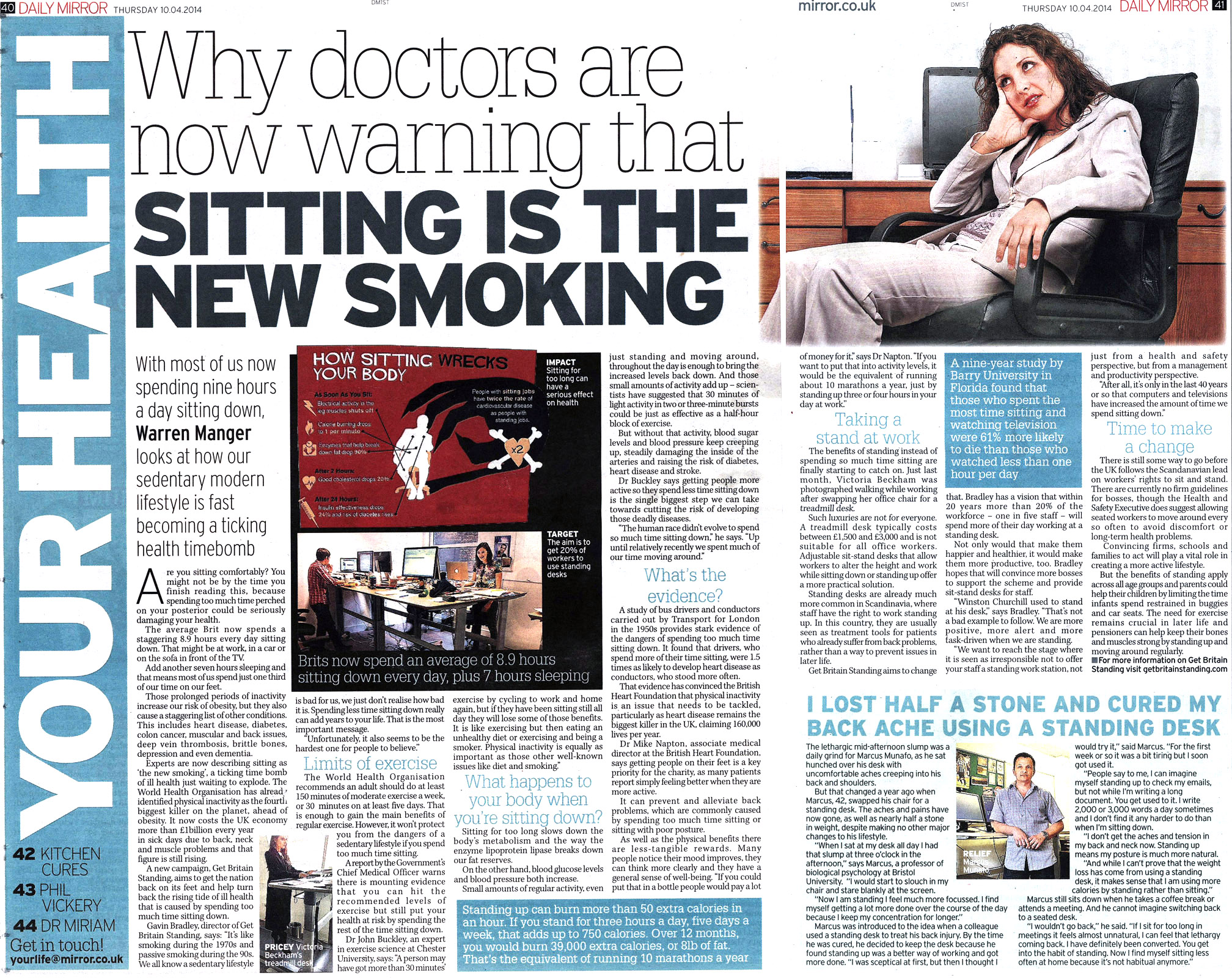 Daily Mirror -10 April 2014 - Sitting is the new smoking