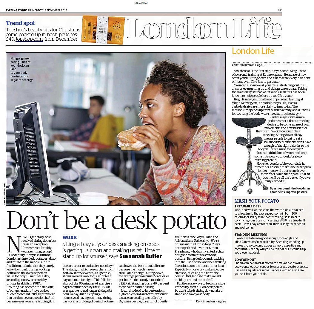 Evening Standard - 18 Nov - Desk Potato article